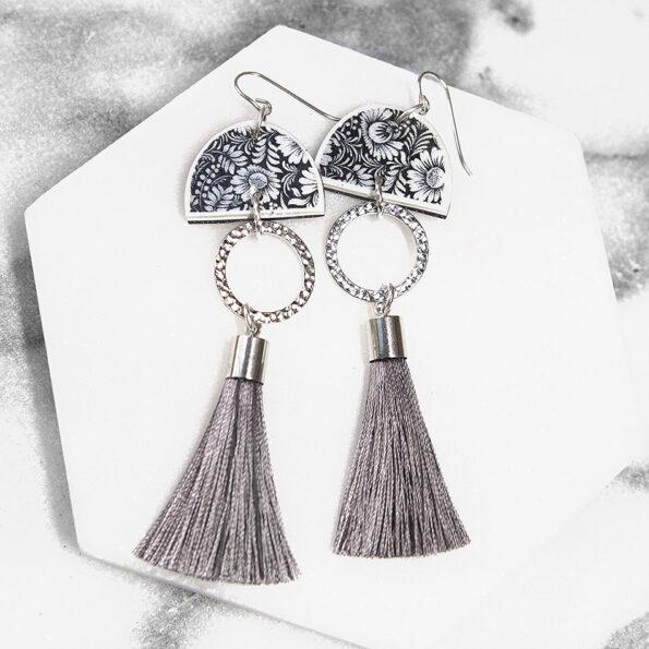 FLORAL SILHOUETTE moon dancer art tassel earrings