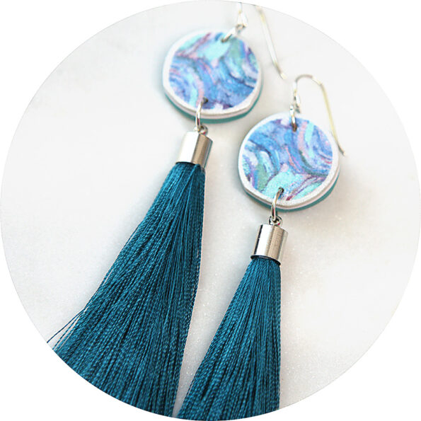paint me teal tassel art earrings coin NEXT ROMANCE unique jewellery australia