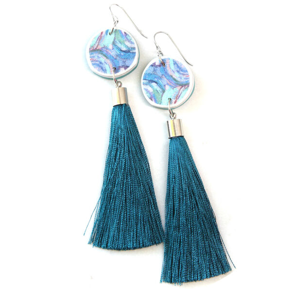 PAINT ME TEAL tassel art earrings