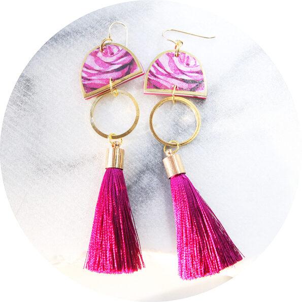 LOVE DANCER rose moon ART tassel earrings