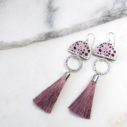 pink polka ink tassel art NEXT ROMANCE new design unique earrings