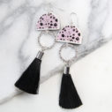 pink polka ink unique tassel earrings made in australia NEXT ROMANCE jewellery vicki leigh