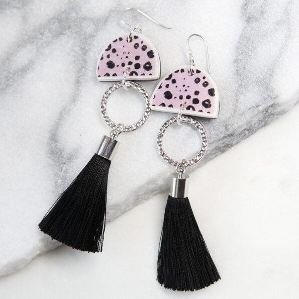 PINK INK DOTS moon tassel ART earrings