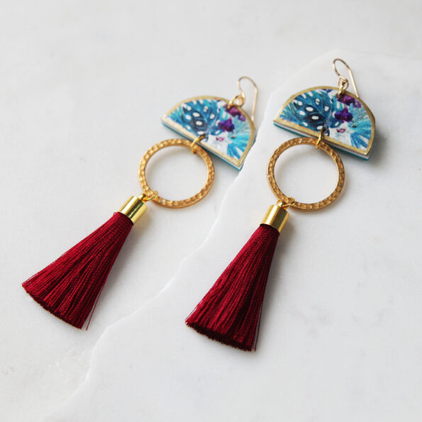 red burgundy tassel tropical earrings dancer art tile NEXT ROMANCE jewellery australia gift wife