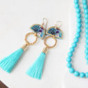 teal tassel tropical MOON earrings dancer art tile NEXT ROMANCE jewellery fun australia xmas gift wife