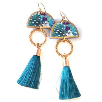 tropical teal polly tassel dancer GOLD earrings NEXT ROMANCE jewellery AUSTRALIA