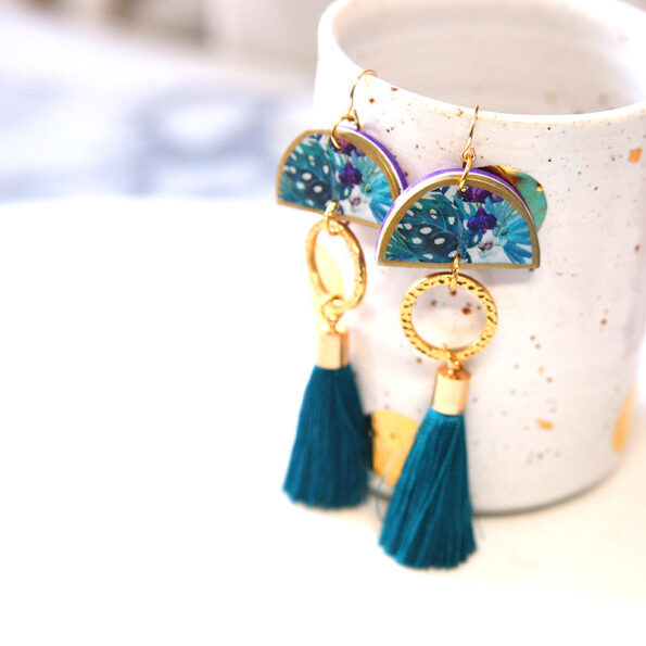 tropical teal tassel dancer GOLD polly earrings NEXT ROMANCE jewellery AUSTRALIA