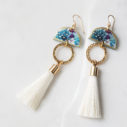 white tassel tropical earrings dancer art tile NEXT ROMANCE jewellery fun australia xmas gift wife