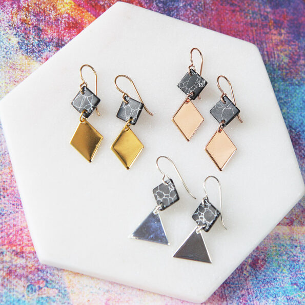 2 tier MARBLE geometric earrings – gold rose silver