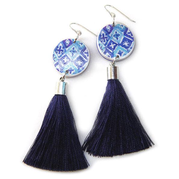 BYRON blue or green watercolour ink coin tassel earrings