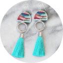dirty dancing ochre teal tassel earrings NEXT ROMANCE contemporary art jewellery australia