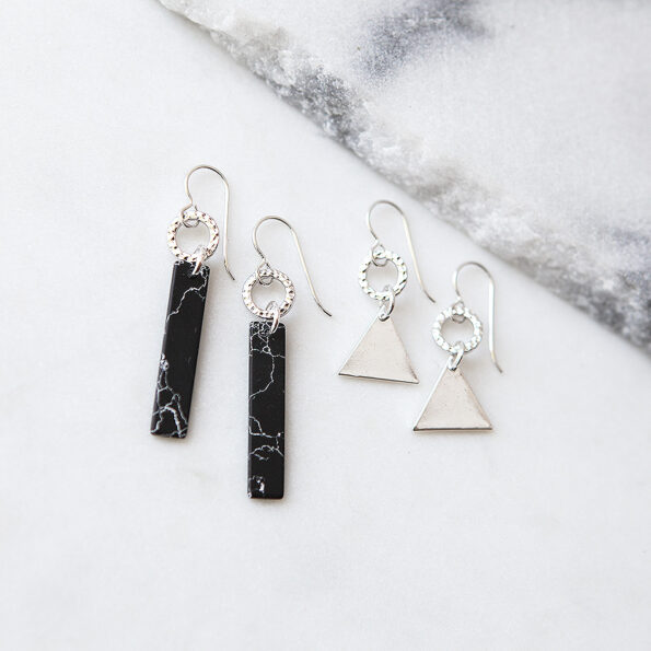 geo triangle marbled bar earrings NEXT ROMANCE dancer style fashion funky unique jewellery australia