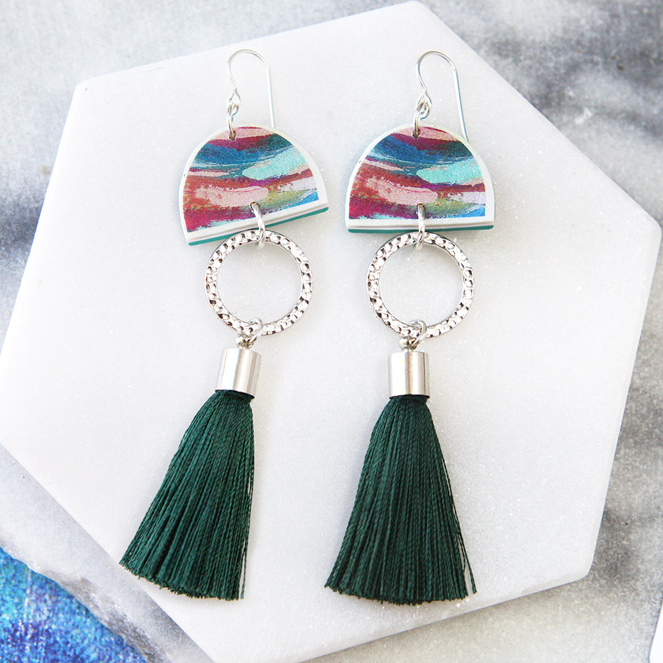 green dirty dancing ochre teal tassel earrings NEXT ROMANCE contemporary art jewellery australia