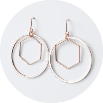 rose gold hoop hex earrings modern simple next romance