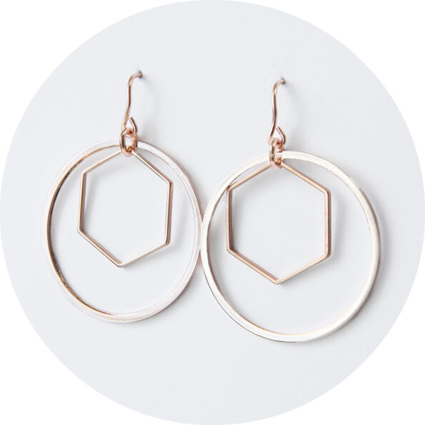 HEX and HOOP combo earrings – silver – rose – gold
