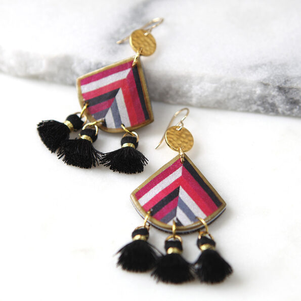 AW18 fan earrings with mini tassels – Next Romance X DEVOI collab
