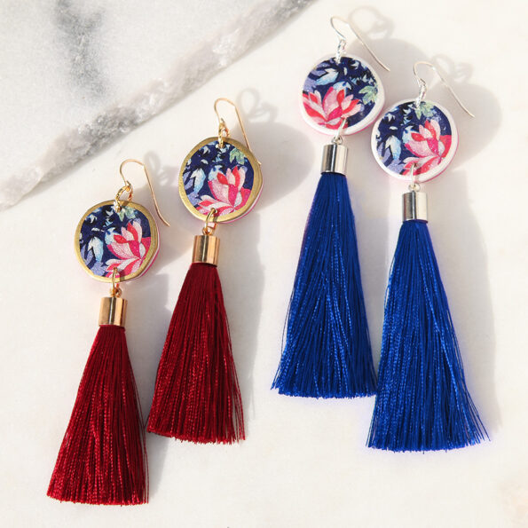 AW18 DEVOI tassel art earrings QUERENCIA floral – choose tassel colour and length