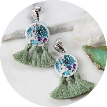 green triple TRINITY tassel coin art earrings NEW next romance jewellery