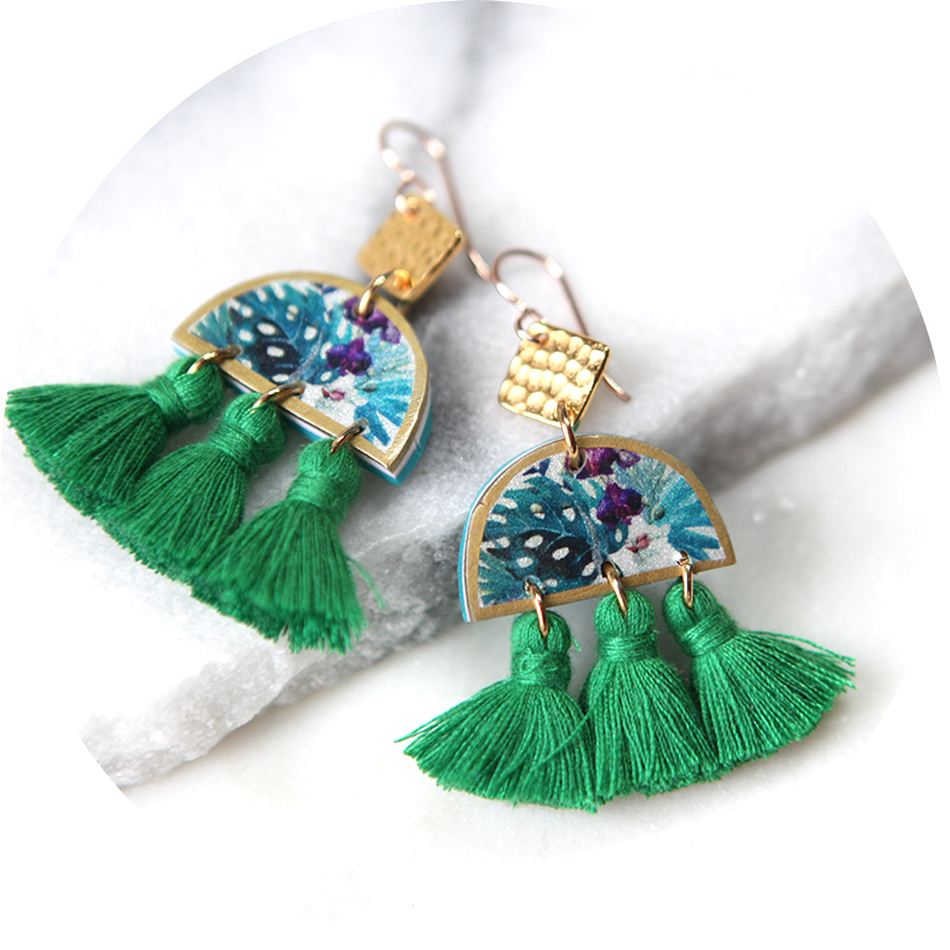 green tropical triple tassel art earrings New NEXT ROMANCE jewellery
