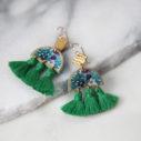 tropical triple tassel art earrings GREEN New NEXT ROMANCE jewellery