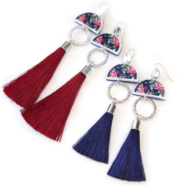 AW18 DEVOI tassel art dancer earrings Querencia floral – choose finish