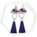 Devoi tassel dancer earrings AW18 querencia collaboration blue burgundy silver floral