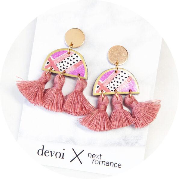 DEVOI cygnus pink MOON art and triple tassel earrings