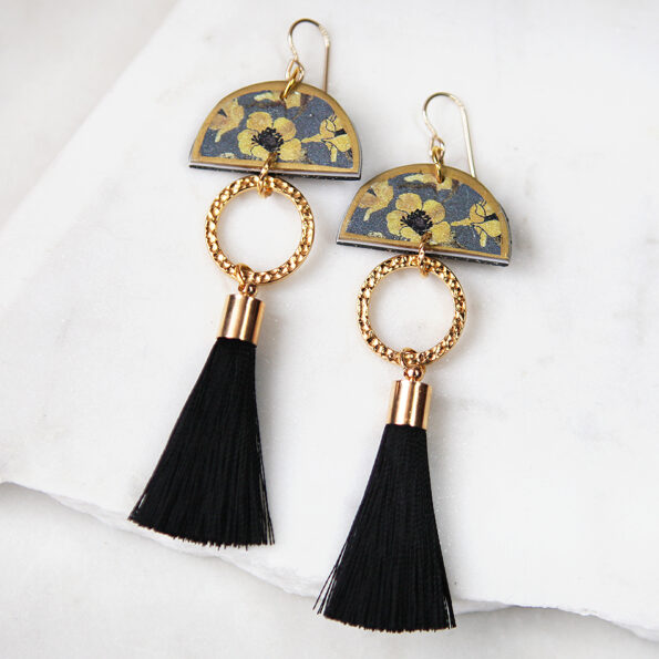 AW18 DEVOI tassel art earrings Nemophily Grey – choose finish
