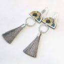 devoi nemophily floral grey dancer earrings silver NEXT ROMANCE jewellery australia