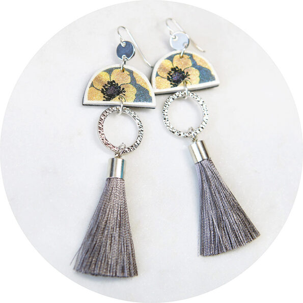 devoi nemophily floral grey dancer earrings silver NEXT ROMANCE jewels