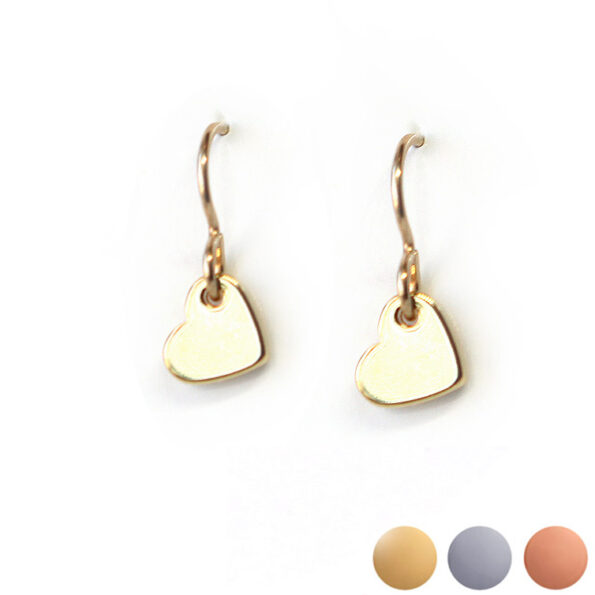 HEART mini simple earrings – gold silver rose – NEW