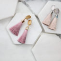 pink latte stud clipon tassel earrings