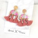 pink musk triple tassel art earrings new next romance DEVOI COLLAB