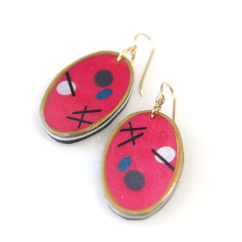 sticks and stones art earrings red oval gold
