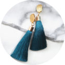 tassel clip on earrings silky peacock thick hammered clasp australian design
