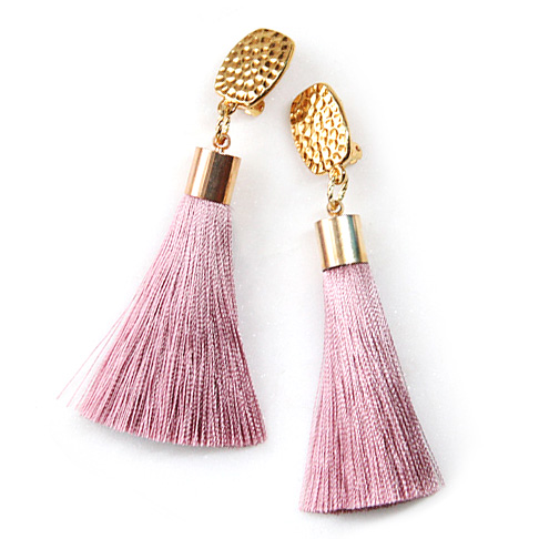 CLIP ON 'all-day' stud luscious silky tassel earrings – NEW STOCK