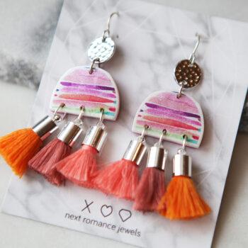 Colourful FUN watercolour MOON triple tassel earrings