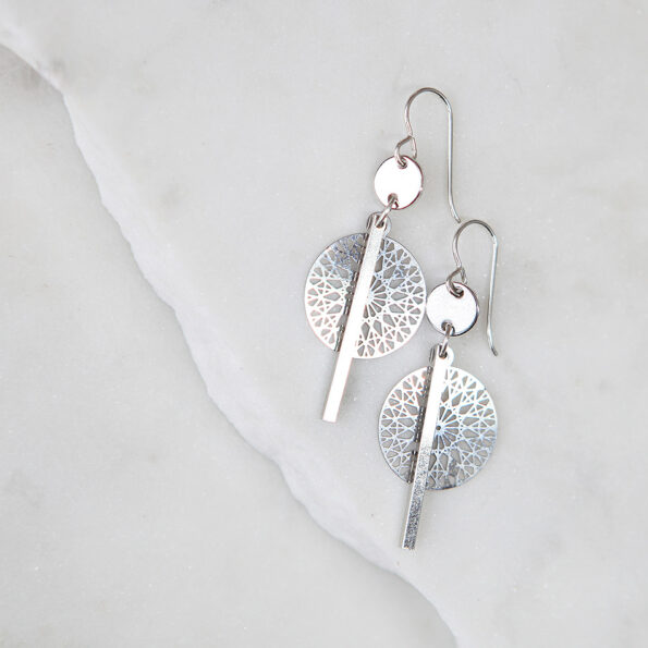 coin bar cathedral lasercut silver funky earrings Next Romance Jewels