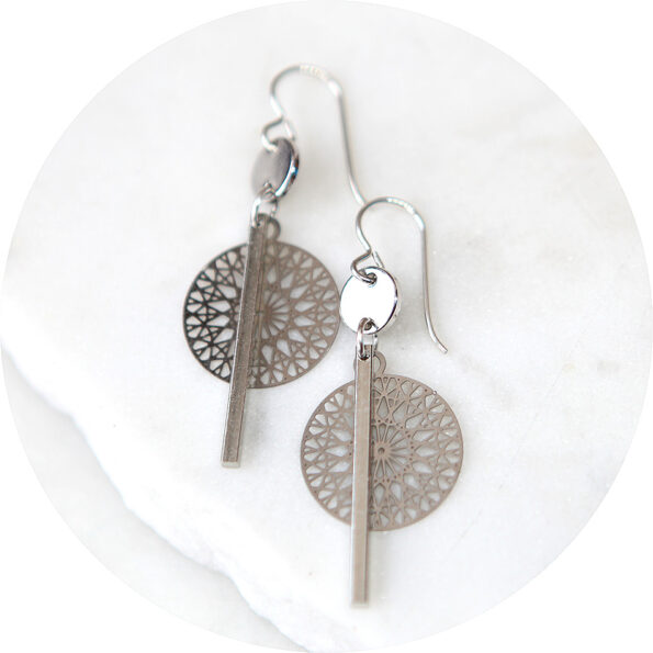COIN and BAR cathedral lasercut earrings – silver