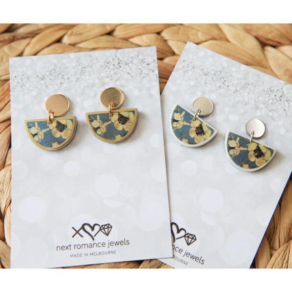 devoi neophiliy little moon stud earrings gold silver grey floral next romance jewellery
