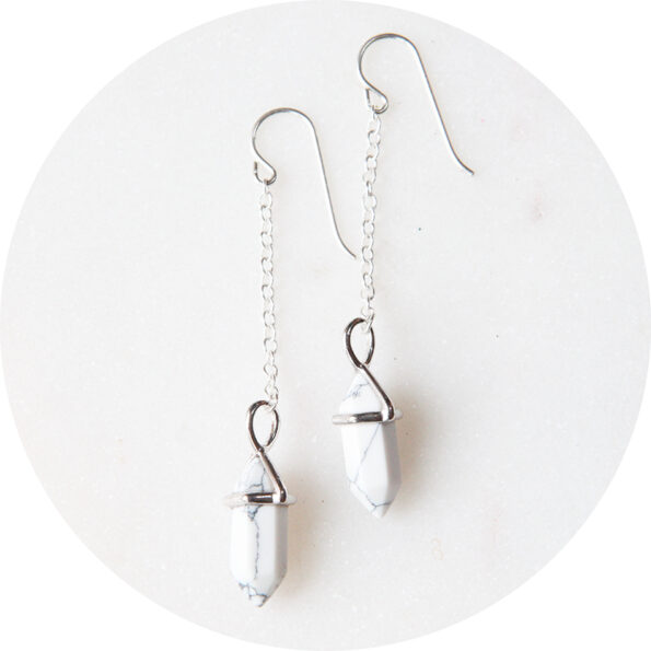 marble mini hex pendulum earrings silver next romance art unique jewellery handmade in australia