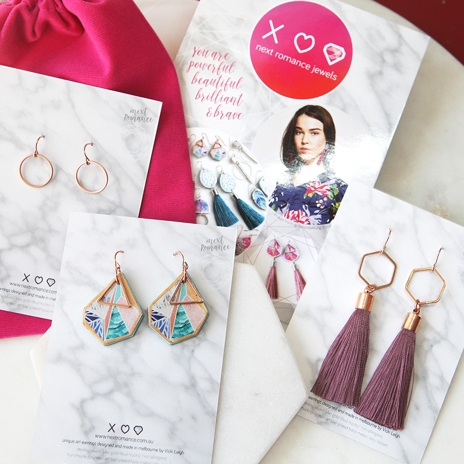 next romance by Vicki Leigh May - rose gold earring set