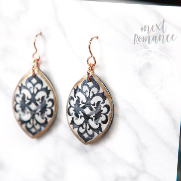 rose gold black art baroque earrings style races modern contemporary Next Romance jewellery melbourne