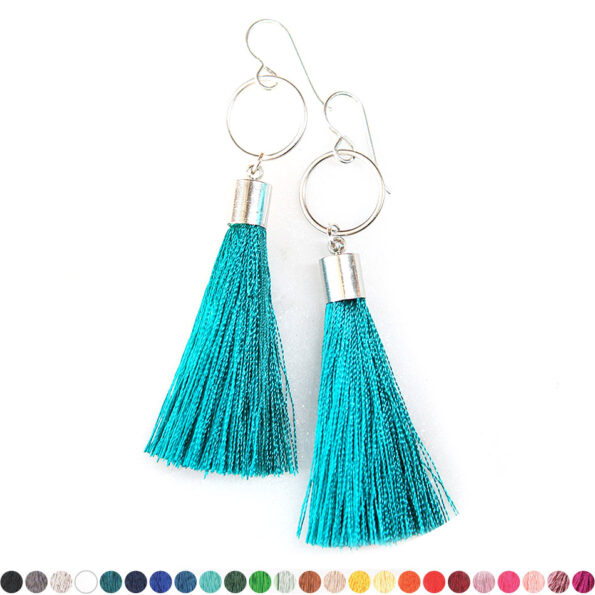 – small HOOP n TASSEL earrings SILVER – choose colour