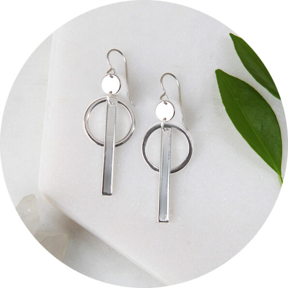 COIN and BAR small hoop earrings – silver