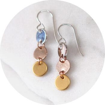 triple coin small drop 3 tone metal sterling hook NEXT ROMANCE jewellery australia