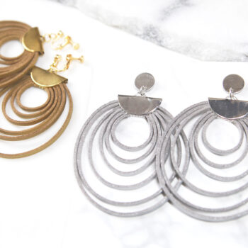HOOPLA SPRING spiral leather hoop earring - silver or gold