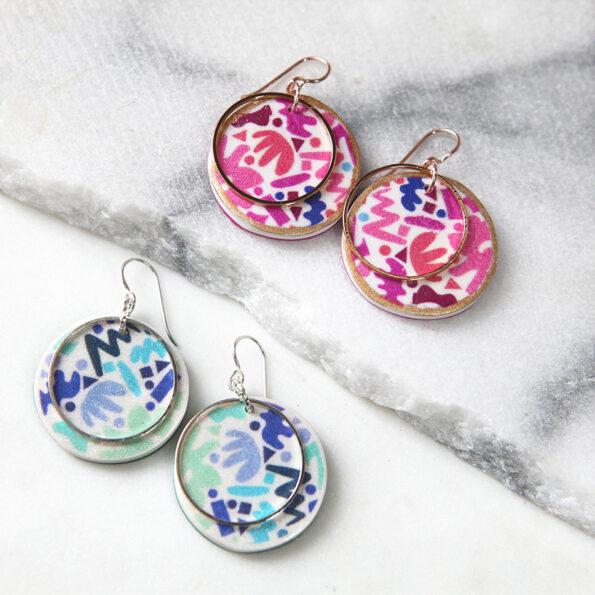 DOT & ZIGGY circle art earrings – choose colour