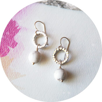 Marble Pearl Hammered ring drop earrings - gold silver rose gold