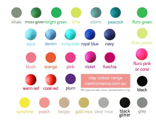 Polymer clay colour chart NEXT ROMANCE studs